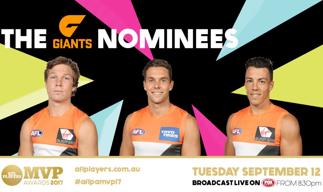 The GIANTS nominees for the AFLPA MVP have been announced.  - Tim Taranto,Toby Greene,Josh Kelly,Dylan Shiel,Callan Ward,Phil Davis,GWS Giants